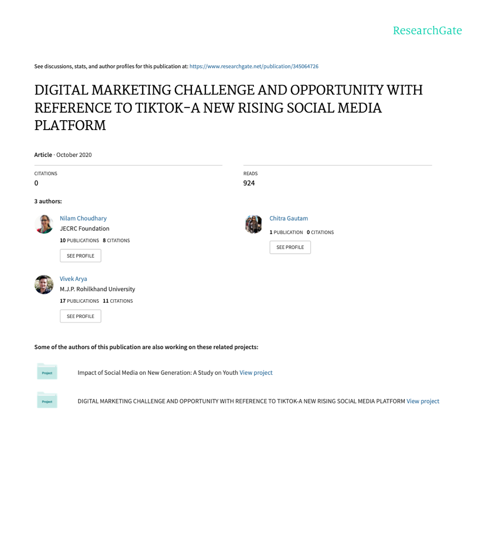 DIGITAL MARKETING CHALLENGE AND OPPORTUNITY WITH REFERENCE TO TIKTOK at Social-Media.press